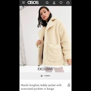 ASOS Monki longline teddy jacket with pockets